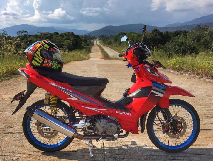 modifikasi motor shogun merah